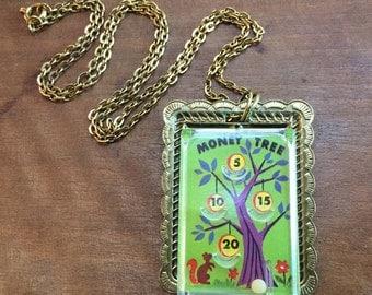 Vintage toy necklace miniature pinball game prize Money Tree