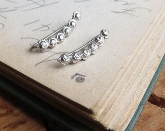 Delicate Rose Ear Climbers Earrings Sterling Silver Flower Ear Sweep Earrings