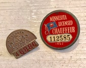 2 Vintage MInnesota CHAUFFEUR PIN Back Button 1942 1952 Collect Jewlery SUPPLIES Collectable Assemblage Curiosity Cabinet Medal Steampunk