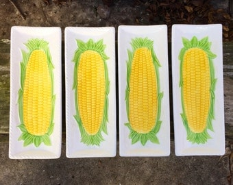Knobler Corn Plates Butter Your Corn Dishes Made in Japan Set of 4 Vintage