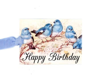 Bluebirds Happy Birthday Tags , Vintage Bluebirds , Bird Lovers Birthday , Celebration Tags , Bluebird Lane Tags , Vintage Style