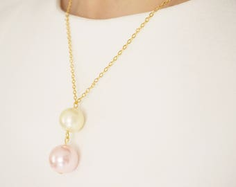 Pink Necklace Pink Jewelry Cream Jewelry Cream Necklace Bridesmaid Necklace Wedding Necklace Wedding Jewelry Bridesmaid Gift Wedding Jewelry