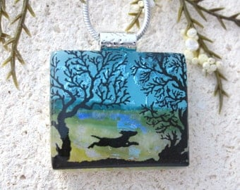 Petite Dog Necklace, Dichroic Glass Jewelry, Dichroic Glass Jewelry, Necklace Included, Dichroic Pendant, Dog Park Necklace, 110616p100