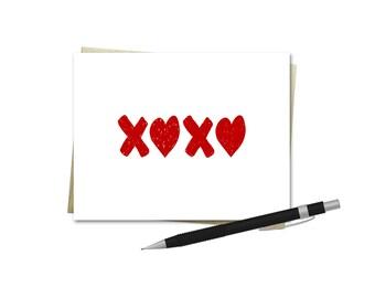 Valentine's Day Card - XOXO - Love Card