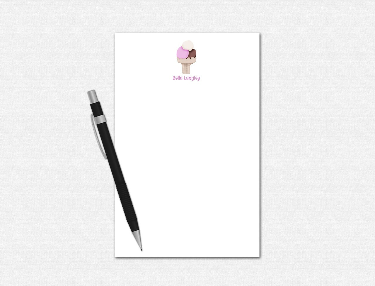 personalized notepad personalized stationery ice cream