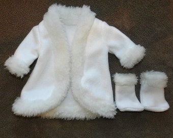 White Fleece Coat and Boots with White Faux fur Trim fits 18 inch dolls
