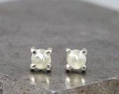Custom for Jacqui - 14k Yellow Gold - 4mm Pale Green Diamond Earrings - Small Rose Cut Diamond Stud Earrings - Tiny Natural Stones