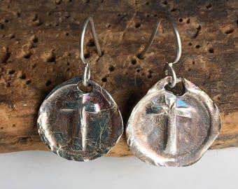 Fine Silver Wax Seal Stamp Earrings, Cross Earrings, Wax Seal Cross, Archaic Earrings, .999 Fine Silver, Kiln Fired, Christian Earrings