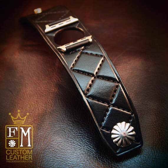Apple watch Leather Cuff Watchband black Harlequin diamonds quilted Bracelet made for YOU in NYC by Freddie Matara