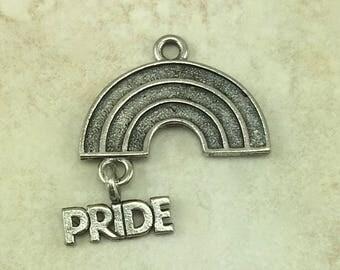 Rainbow Pride Charm > Dangle LBGTQ - American Made Lead Free Pewter Silver - I ship Internationally