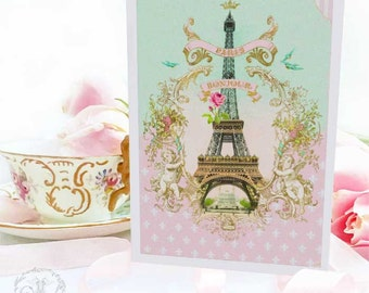 Eiffel Tower card, Bonjour from Paris, French card, blank inside
