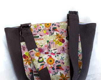 trickster brown pinstripe floral eco tote, handmade eco-friendly market shoulder bag, large upcycled lightweight handbag