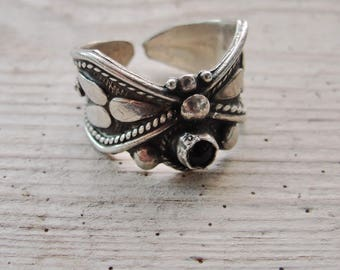 Sterling Silver Garnet Ring Bohemian Butterfly Statement Ring Full Moon US size 7-8 One of a Kind