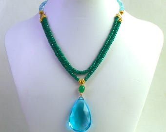Extra Large Swiss Blue Topaz, Emerald Double Strand Pendant Necklace in 14kg fill...