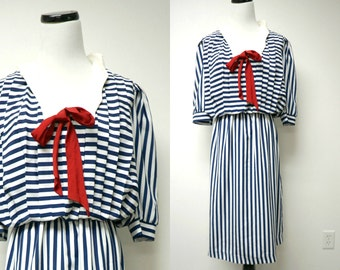 "Stuart Alan . 70s 80s red white and blue secretary dress . size 12 . 38"" bust"