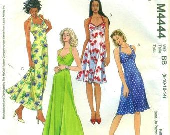 McCall's 4444 LAURA ASHLEY Halter Dress Sizes 8 10 12 14 English & Spanish Espanol Instructions c. 2004