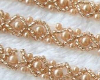Elegant rose gold bridal belt; vintage inspired wedding sash; handmade; thin wedding belt, thin satin bridal ribbon with pearl style beads
