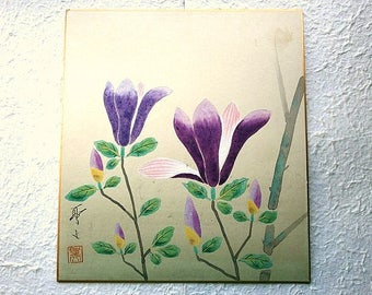 Painting on Calligraphy Paper - Flowers - Purple Color - Vintage Painting in Japan - Flower Painting