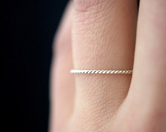 Sterling Silver Twist ring, One Single Ultra Thin ring, silver stack ring, stackable silver rope ring, 925 sterling twist ring