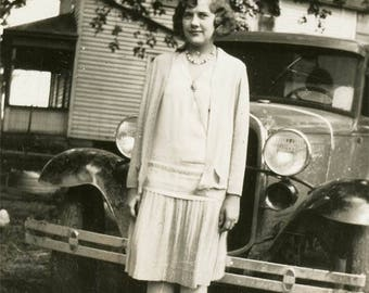 Vintage photo 1930 Young Woman Ethel Flapper ERa Stands by Car