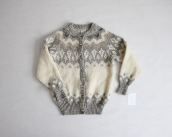 icelandic wool sweater | fair isle cardigan | grey fair isle sweater