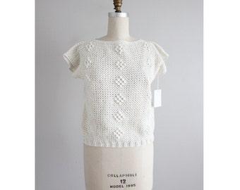 cream crochet top | cropped sweater | popcorn sweater