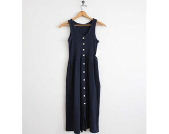 cotton thermal dress | navy blue dress | waffle knit dress