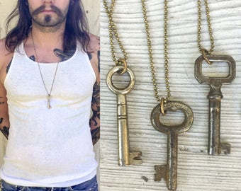 Real Antique Skeleton Key Necklace *BULK OPTIONS*  Mens Necklace Vintage Industrial. Rustic masculine Jewelry bronze Silver mixed metals K27