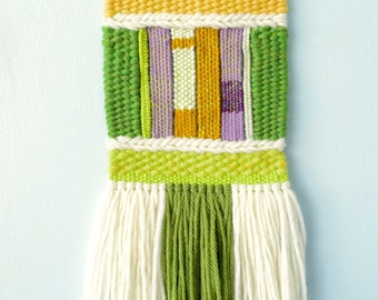Small Woven Wall Hanging #13 (matcha) - tapestry fibre art wall art loom weaving home decor one of a kind wool roving yarn green lavender