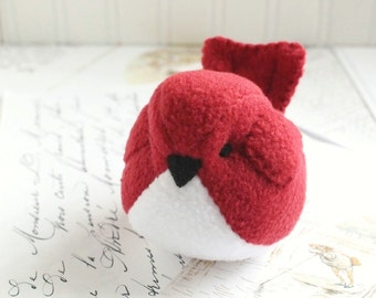 Bird Plushie Red Fleece Bird Stuffed Animal Childrens Handmade Plush Toy Red Bird Stuffie