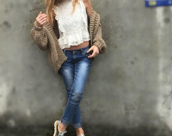 women's beige chunky sweater, bomber jacket, handknit sweater,  women's cardigan, women's sweater, alpaca mix, Ltd Edition in this shade