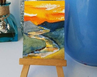 River Scene, Mountain Country, ACEO Original Painting, Mountain Sunset, Valley River, Scenic Watercolor, Nature Lovers Gift, High Country