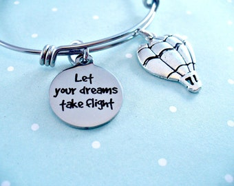 Graduate, Let Your Dreams Take Flight, Ambition, Graduation Day,Hot Air Balloon, Stainless Steel Bangle, Designer Inspired Bangle, Quality