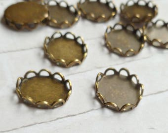 12 Brass Ox 10x8mm Lace Edge Settings Made in USA (13-7B-12)