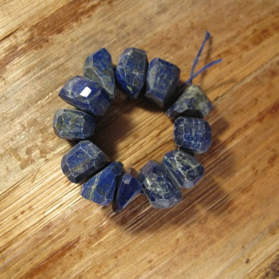 Lapis Faceted Beads, 4 Inches of Natural Gemstone Beads, Chunky Blue Nugget Beads, 11mm x 9mm, 17 stones (S-Lap2a)