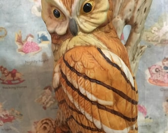 Rare Vintage Woodland Owl On a Tree Branch Bookend Antique Collectible