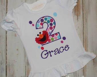Elmo Birthday shirt, Elmo shirt, Elmo Girl birthday shirt, Little Red monster shirt, Ruffle shirt, Girl Birthday shirt, sew cute creations