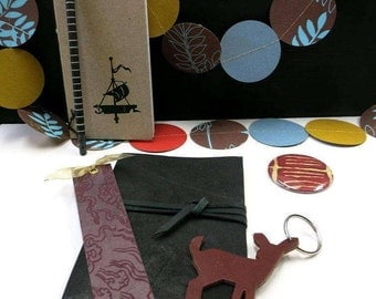 ON SALE! Stationary Set, Leather journal, notebook, pencil, key-chain, bookmark, pocket mirror, garland