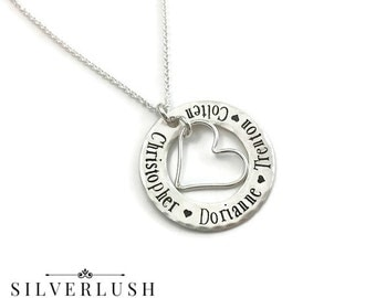 Custom Mother's Necklace with Four Names - Sterling Silver Mommy Jewelry