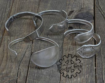 Silver Spoon Cuff Assortment - 5 Pieces - Made from Antique Silverware - Great Eco Friendly Gift - Vintage Wedding Ideas - Adjustable mix