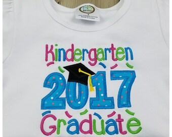 Class of 2017 - Kindergarten Graduation Shirt - White Ruffled Embroidered Girls Shirt – Graduation Outfit - Kindergarten Pictures