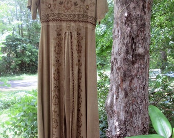 Vintage Embroidered India Rayon Dress - Select Hippie/ Boho Maxi Dress - Shades of Brown Rust Black