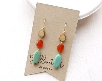 Turquoise Earrings / Carnelian Earrings / Beaded Earrings / Gemstone Earrings / Girlfriend Gift / Boho Earrings / Turquoise Jewelry / Boho