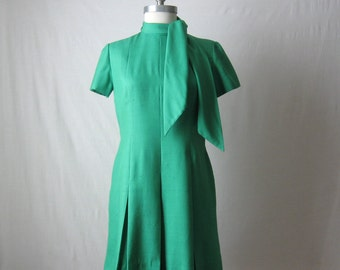 60s Dress Bill Blass Green Silk Dress with Neck Tie 1960s Mini Dress