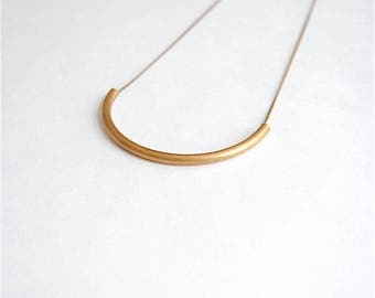 Brass Arc Necklace. Long Minimal Necklace for Woman. Feminine Gold Curve Tube. Bohemian Style Jewelry. Big Bold Geometric Minimalist Pendant