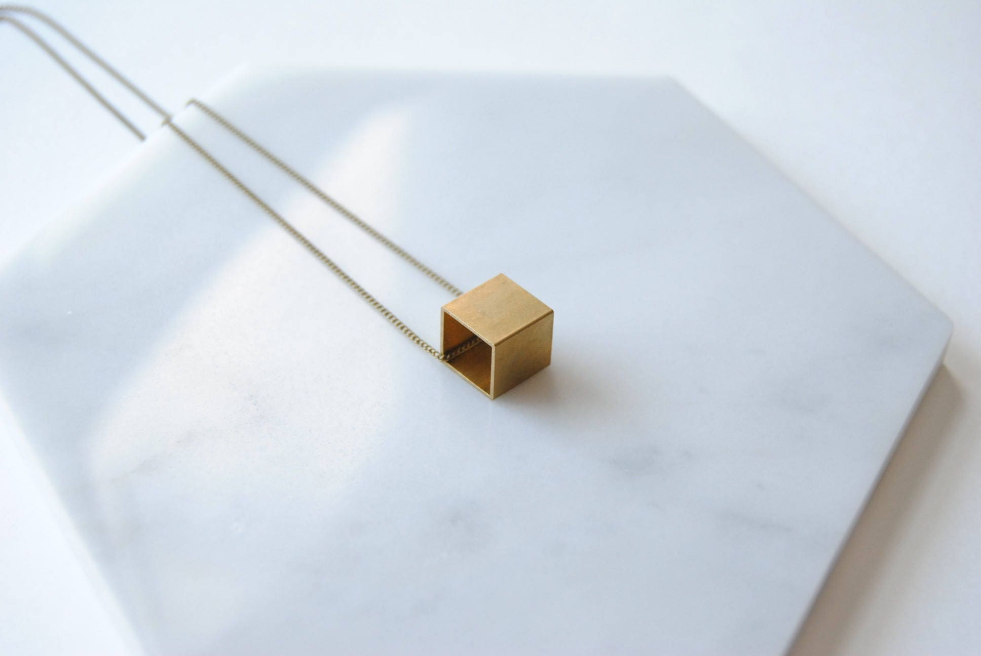 Brass Cube Necklace Square Charm Geometric For Him Gift For