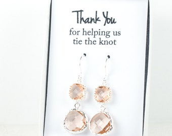 Long Peach Silver Earrings, Blush Silver Drop Earrings, Champagne Silver Earrings, Bridesmaid Earrings, Bridesmaid Gift, Wedding Jewelry