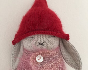 Dove Gray Bunny With Red Cashmere Cap and Handknit Mohair Sweater Cape