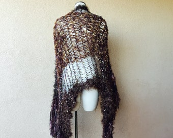 Golden Eagle Dark Brown Shawl with Gold and Brown Shawl, Same Style as Shawl Designed for Stevie Nicks Shawl