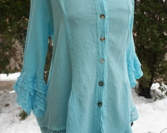 Light blue gauze blouse bell sleeve hippie boho top button down cotton Mexico lace crochet trim